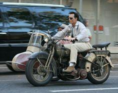 Johnny Depp on his Vintage Harley Davidson Motorcycle