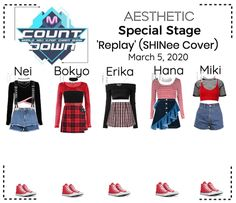 Date: A look for Mcountdown by Aesthetic-Official from March During 'GET LOUD' Promotions. Discover outfit ideas for school made with the shoplook outfit maker. How to wear ideas for Hoop Earrings and Pre-Owned Dior Rhinestone Logo Stage Outfits, Kpop Outfits, Outfit Maker, Autumn Summer, My Wardrobe, Red Velvet, Girl Group, My Girl