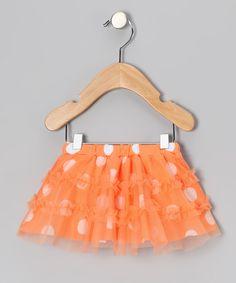 Orange Polka Dot Ruffle Skirt