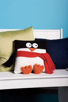 Oh, have to make this for Zach!! Penguin Pillow PDF Knitting Pattern.  via Etsy.