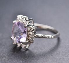 Amethyst sterling silver ring gemstone by JubileJewel, $60.00
