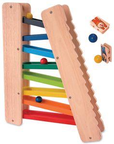 Farbenfrohe Rollbahn 3in1 mit toller Kugelbahn, Purzelbahn und Leiter für die Leitermännchen