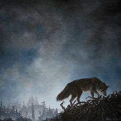 A #coyote searches through #sticks and #brambles in this beautiful #oilpainting by @brianmashburn. Amazing depth into the remnants of a #city. Great high stretching #cloudy #sky. Awesome detail on the coyote and its #fur. Another gorgeous #landscape #painting Brian!  #AnimalAirship