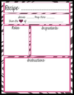 FREE PRINTABLES!! 4 layouts for full page recipe book/binder ...