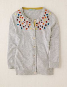 Embroidered dots on cardigan- I want to recreate this Boden piece.  So cool!