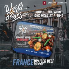World Series RTE Meals; Globally Inspired. Grab your passport, pack your bags, & travel the world with Jackson & Partners one country at a time. Every new discovery enriches our lives & we are excited to introduce you to our new line of ready-to-eat meals from France. #readytoeatmeals #worldseriesglobalcuisines #jacksonandpartners #worldseriesglobaltour Burger Recipes, Pork Recipes, Seafood Recipes, Eat Meals, Steak Rubs, Carrots And Green Beans, Homemade Burgers, Braised Beef, How To Introduce Yourself