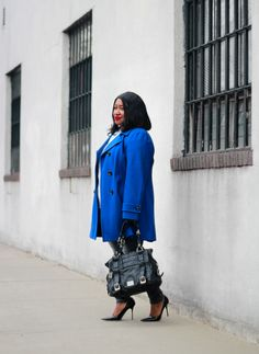 Plus Size Fashion for Women • Royal Blue Coat Outfit Idea • Winter Blues | Shapely Chic Sheri