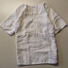 le bouton white linen seam front dress