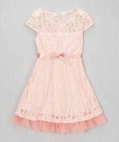 Sweet Charlotte Pink Rose Lace Dress & Belt - Toddler & Girls   zulily