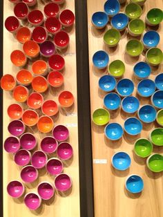 """Gold Leaf Design Group - Indoor/outdoor ceramic wall art """"pods"""" So colorful and I want to put little lego toys in them!"""
