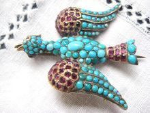 Victorian 14K Gold Ruby and Pave Turquoise Bird Brooch