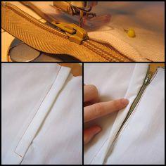 Olá querido leitor! Hoje vim ensinar vocês, uma segunda maneira de pregar zíper. Este tipo de zíper, é um pouco mais delicado qu... Clothing Patterns, Dress Patterns, Sewing Patterns, Sewing Hacks, Sewing Crafts, Sewing Projects, Techniques Couture, Sewing Techniques, T Shirt Tutorial