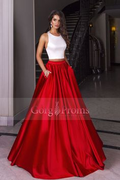 2017 Bicolor Two-Piece Halter A Line Prom Dresses Satin Floor Length