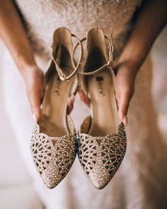 Bridal outfits selected, jewellery done, make up arrangement finalized. But one of the important things that left to be done is shopping for bridal footwear. Bridal Footwear, Bridal Flats, Wedding Shoes, Bridal Lehenga, Saree Wedding, Wedge Heels, High Heels, Bridal Outfits, Manolo Blahnik