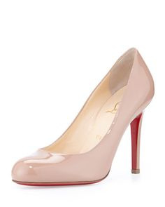 Simple+Patent+Red+Sole+Pump,+Nude+by+Christian+Louboutin+at+Neiman+Marcus.