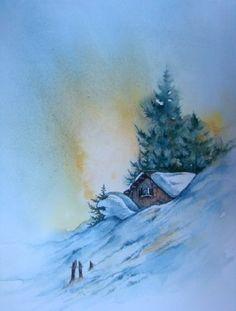 Watercolor Painting Techniques, Watercolor Canvas, Watercolour Tutorials, Painting Lessons, Watercolour Painting, Snow Scenes, Winter Pictures, Winter Art, Snow