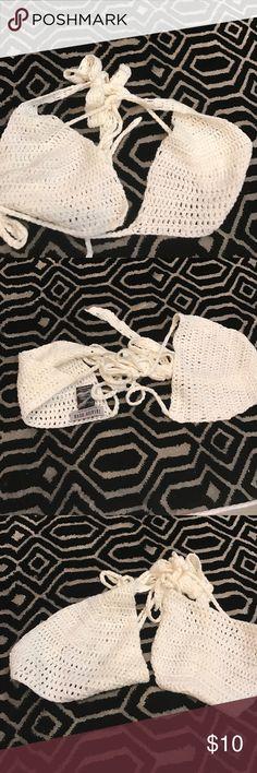 NWOT. White tie around crotchet top As shown. Fits C/D/DD CUP Swim Bikinis