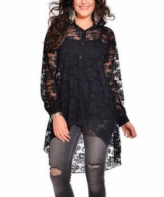 Look what I found on #zulily! Black Sheer Lace Shirt Dress - Plus #zulilyfinds