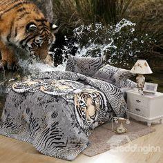 YeeKin Oil Leopard Print Tiger Boys Duvet Bed Sheet Sets No Comforter,Queen Full Size Polyester - Bed Comforter Sets, Cheap Bedding Sets, Bedding Sets Online, Duvet Bedding, Linen Bedding, Comforters, Bed Linen, Bed Sheet Sets, Bed Sheets