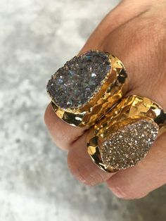 Druzy gold electroplated Statement Rings. Slightly adjustable.