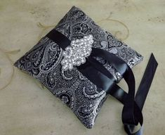 Black and Silver Brocade Couture Ring Bearer Pillow, Unique and stunnign!