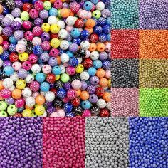 Wish | 13 Color Rhinestone Round Acrylic Spacer Loose Beads For Jewelry Making 100 Pcs&8mm