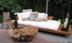 outdoor sofa, urban zen DK Haiti collection- I love the mix of pillows too!