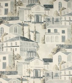An unusual contemporary design,depicting italian style houses and landscape. Available in three different colourways, indigo, eucalpytus and ebony. Made from 100% cotton. This fabric would make a stylish roman blind and is also suitable for cushions and curtains. Our online store and shops in Burford and Cheltenham have huge stocks of discount curtain and upholstery fabrics.