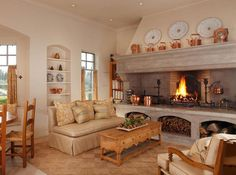 Image result for kitchen with fireplace
