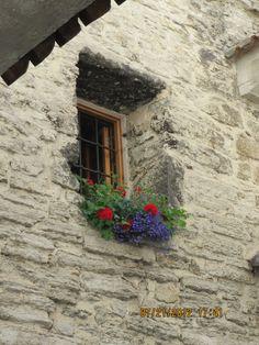 basket of flowers, Tallinn medieval building, Estonia