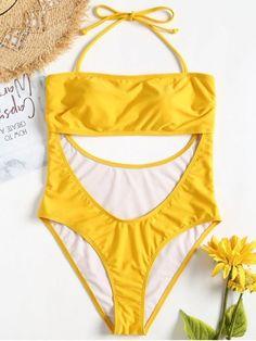 Shop one piece swimsuit online, you can get string, fashion and sexy one piece bathing suits and bikini for women on ZAFUL. Yellow Bikini Set, Bikini Swimwear, Bikinis, Cut Out Swimsuits, High Leg Bikini, Bikini For Women, One Piece Swimsuit, Bathing Suits, Beachwear