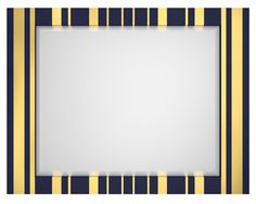 The rectangular frame of this go-anywhere landscape mirror alternates vertical rows of gold leaf stripes on a blue background.