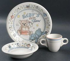 """Homer LaughlinChina/Fiesta® """"Baby's First Fiesta"""" with double ring handles on cup   Replacements, Ltd"""