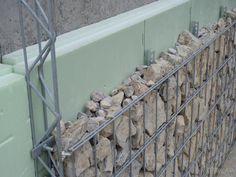 Gabion Stone, Gabion Fence, Gabion Wall Design, Fence Design, Outdoor Garden Furniture, Diy Garden Decor, Compound Wall Design, Exterior Wall Cladding, Casas Containers