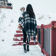 Finding beauty in the snow. Photo by @grace_adams #pendleton #snowday #family #babyitscoldoutside #cozy #warmwool  #plaid #fashion