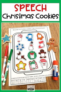 Decorate Christmas cookies in speech therapy without the mess with these no prep holiday worksheets. This set of materials includes black and white pages for 20 speech sounds include l, s, and r. The color, cut and glue activity is great for individual articulation therapy or mixed groups.