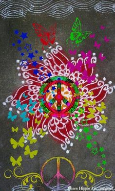 ➳➳➳☮American Hippie Art - Peace Sign Flower