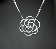 Silver Chrysanthemum Flower Necklace $15