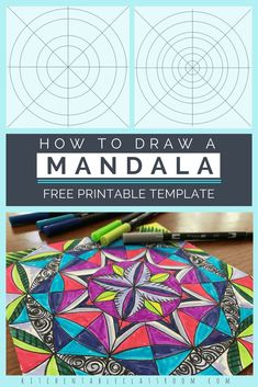 Mandalas are everywhere right now- grown up coloring books, clothing trends, and even home decor. They look fancy and super intricate but these step by step directions and free printable template make it easy to draw a mandala of your own! Mandalas Painting, Mandalas Drawing, Mandala Artwork, Zentangles, Art Lessons For Kids, Art For Kids, Mandalas For Kids, Mandala Printable, Free Printable