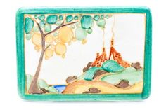 Clarice Cliff, a Secrets pattern advertising plaque, hand painted and inscribed to the reverse Se