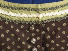 Vintage Dirndl mit Schürze, braun grün, Gr.40/42