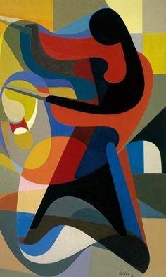 Joueuse de diabolo, Maurice Estève, 1930, huile sur toile, conservée au musée Estève, à Bourges