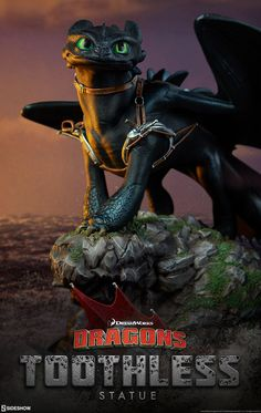 How to Train Your Dragon Toothless Statue by Sideshow Collec Big Dragon, How To Train Dragon, Black Dragon, How To Train Your, Httyd Dragons, Dreamworks Dragons, Greek Statues, Buddha Statues, Stone Statues