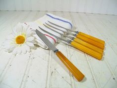 Vintage Butterscotch Bakelite Handles Henry's Knives 5 Piece Set - Antique Stainless Steel Collection of 6 Steak & Tomato Sharp Slicers $24.00 by DivineOrders