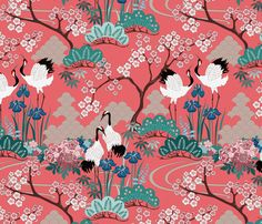 gueth_japanese_garden_chinese_red1 fabric by juditgueth on Spoonflower - custom fabric