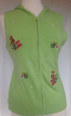Juniors L Not Ugly Christmas  Sweater Hoodie Green Red Presents Bling Sequins #CrystalKobe #Cardigan