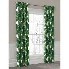Green Banana Leaf Grommet Outdoor Curtain | Loom Decor