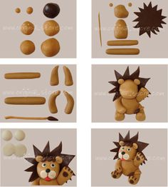 Explications pas à pas pour réaliser un petit lion en pâte à sucre. Vous pouvez trouver de la pâte à sucre ici.