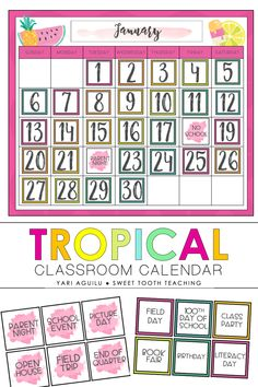 This colorful tropical and fruity classroom calendar will spice up any elementary classroom! Includes large calendar templates, dates, class events, holidays, and much more! Classroom Hacks, Classroom Decor Themes, Fourth Grade, Third Grade, Classroom Calendar, Calendar Templates, Classroom Community, Class Activities, Your Teacher