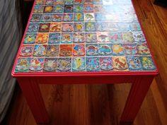 DIY: Decoupage Pokeman Card Table! | LUUUX